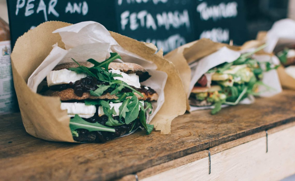 Take away vegetarian sandwich with goat cheese